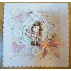 Little girl with flowers - Handmade Card