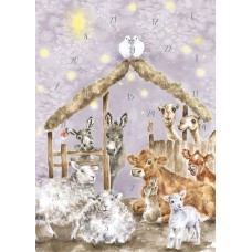 Christmas advent calendar Card - Away in a Manger